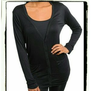 Tops - New Black Long Sleeve Pocket Cardigan Top