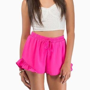 Tobi Pants - TOBI • Hot pink ruffle shorts