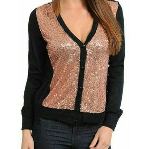 New Black GOLD SEQUIN Holiday Cardigan Sweater