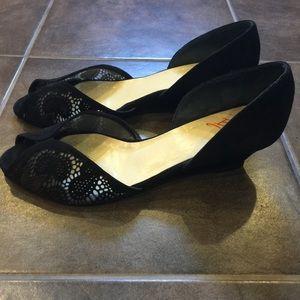 Butter Shoes Shoes - BUTTER Shoes Black Suede Laser Cut D'Orsay Wedge