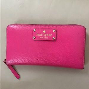 Kate Spade Wellesley Neda leather wallet pink