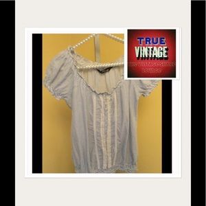 Jane Norman Tops - Vintage White & Blue Pinstriped Blouse