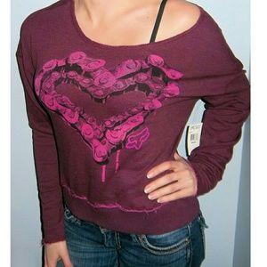 New FOX RACING Heart Chain Sweatshirt