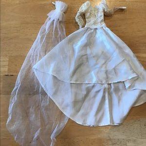 Barbie Other - Vintage Barbie Dress gown long veil white lace