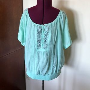 Abercrombie & Fitch Tops - Abercrombie Mint Green Peasant Blouse L NWOT