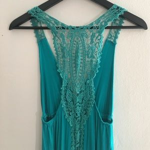 Teal Maxi Dress with Crochet Back