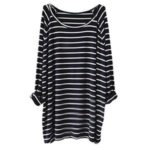 sheinside Tops - Navy and white striped long sleeve tee