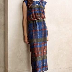 Anthropologie quilted pastiche plaid maxi dress