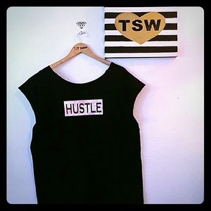TSW COUTURE Tops - NEW HUSTLE PINK FLOWER BLACK CUT TSHIRT SIZE LARGE