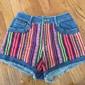 Ladakh Pants - High Wasted Tribal Jean Shorts