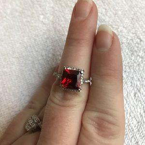 Jewelry - Red costume ring silver ruby garnet rhinestone