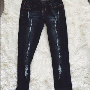 Denim - Dark Wash Distressed Jeans