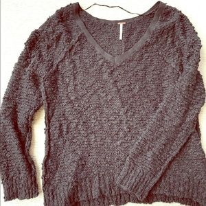 Free People Black V-Neck Sweater