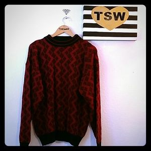 Vintage 90's Today's News red & white sweater