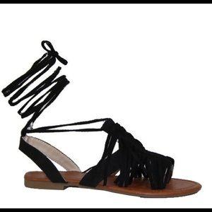 SHOEROOM21 boutique Shoes - Ladies high ankle straps front fringe flat sandals