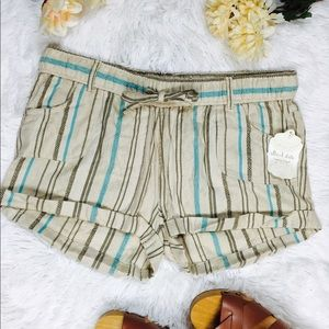 Altar'd State Pants - Altar'd State Striped Drawstring Cuffed Shorts