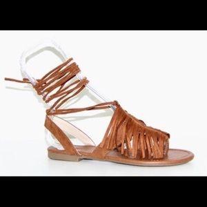 Ladies high ankle straps front fringe flat sandals