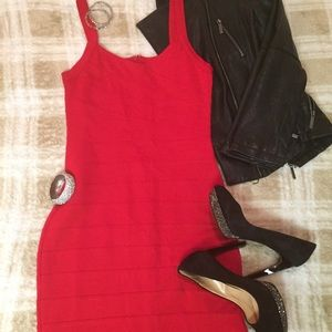 SEXY•Body Con•Cherry Red Mini Dress