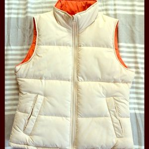 "Big Chill Jackets & Blazers - Reversible ""puffy"" puffer vest cream and orange."