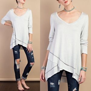 JOSIE loose fit solid tunic top - LT GREY