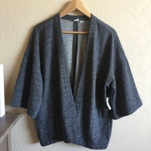 GAP Sweaters - GAP Charcoal Heather French Terry Kimono Cardigan