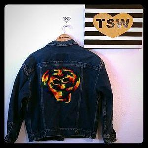 Calvin Klein Jackets & Blazers - Calvin Klein upcycled crochet skull jean jacket