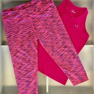 Fabletics Pants - Fabletics Pink Stripe Salar Capri