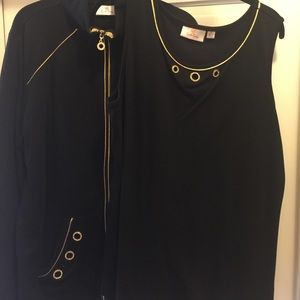 quacker Factory Tops - BOTH! Quaker Factory SET upscale  blk & gold large