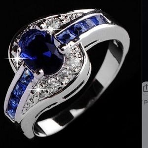 Jewelry - New silver plated blue stone & diamond ring size 8