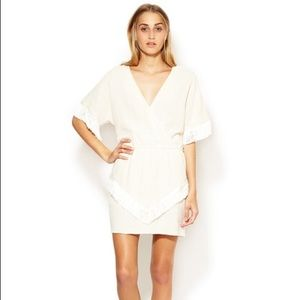 Maje Dresses & Skirts - Maje Lefebure Cotton Fringed Crossover Dress