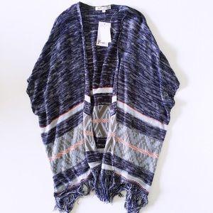 Sweaters - blue fringe kimono