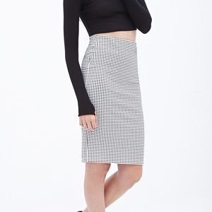 Forever 21 Checkered Stretchy Pencil Skirt *New*