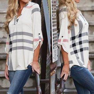 Tops - White plaid top shirt