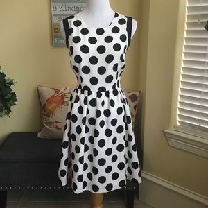INA Dresses & Skirts - Polka Dotted Linen Blend Dress