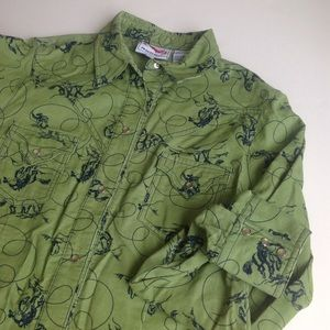 Roper Tops - Roper corduroy green western shirt -worn once