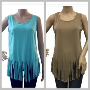Tops - 🔥Sueded fringe Tank 🌺2 color choices