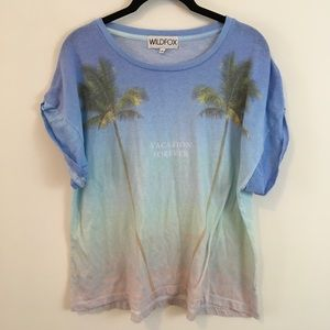 Wildfox Tops - WILDFOX Vacation Forever Beach Printed Shirt Top