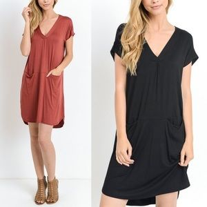 ARANA solid v-neck dress w/ pockets - 2 colors