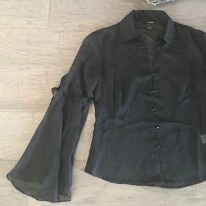 kenzie Tops - KENZIE, black sheer blouse, Size 4