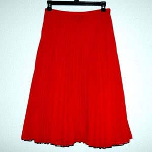 MNG (Mango) red pleated skirt