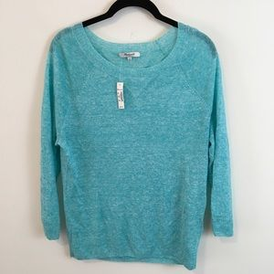 NWT Madewell Electric Blue Linen Knit Sweater Top