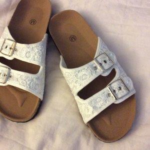 Birkenstock Shoes - White Crochet Cork Slide Sandals
