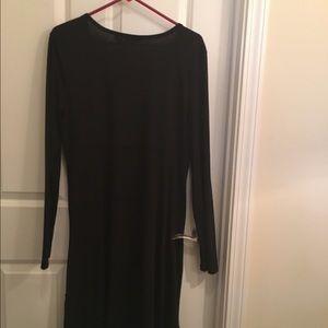 A black top stitched flair Knit  dress XL