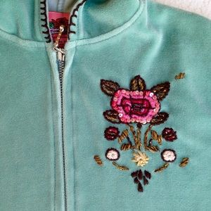 Flowers by Zoe Other - Teal velour Flowers by Zoe sweatshirt w/embroidery