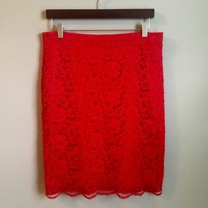 ELLE Dresses & Skirts - ELLE | Red Pencil Skirt w Lace Overlay