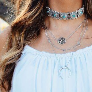 The Wanderlust Bazaar Jewelry - •HP//Phoenix Turquoise Silver Choker•
