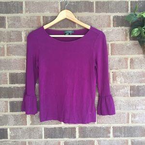 Lauren Ralph Lauren Tops - Ralph Lauren Purple Peplum Sleeve Top
