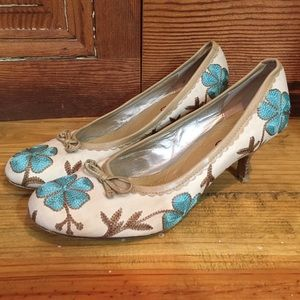 Aldo Turquoise Floral Canvas Pumps Size 38