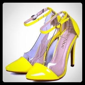 Liliana Shoes - Liliana Neon Yellow , Lucite Panel Pumps 👠