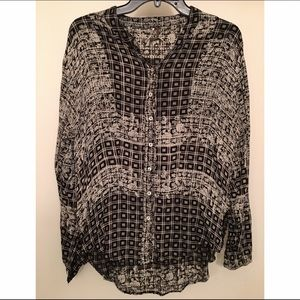 Free People Printed Button-Up Blouse